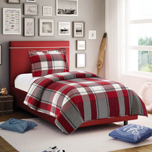 Load image into Gallery viewer, All American Collection Red-Green Plaid Printed Bedspread Set