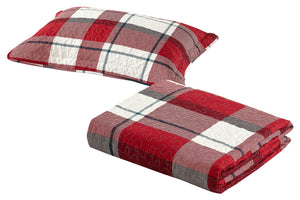 All American Collection Red-Green Plaid Printed Bedspread Set