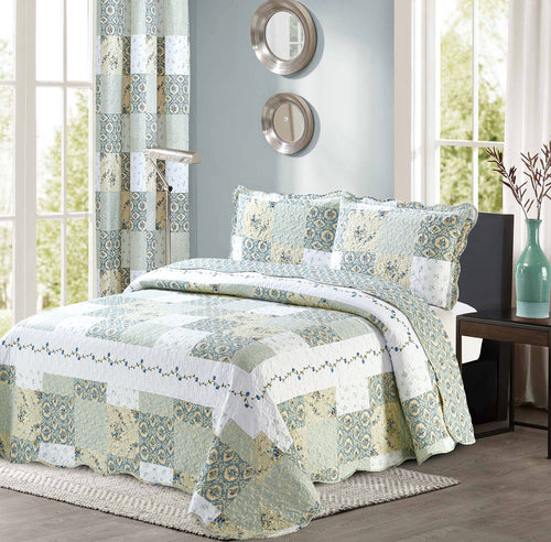 Floral Printed Patchwork Blue/Green Bedspread/Quilt Set