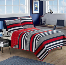 Load image into Gallery viewer, 3pc Contemporary Red-Navy Bedspread Set