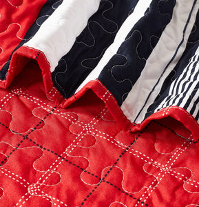 3pc Contemporary Red-Navy Bedspread Set