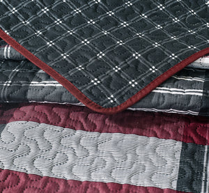 Plaid Printed Reversible Bedspread/Quilt Set