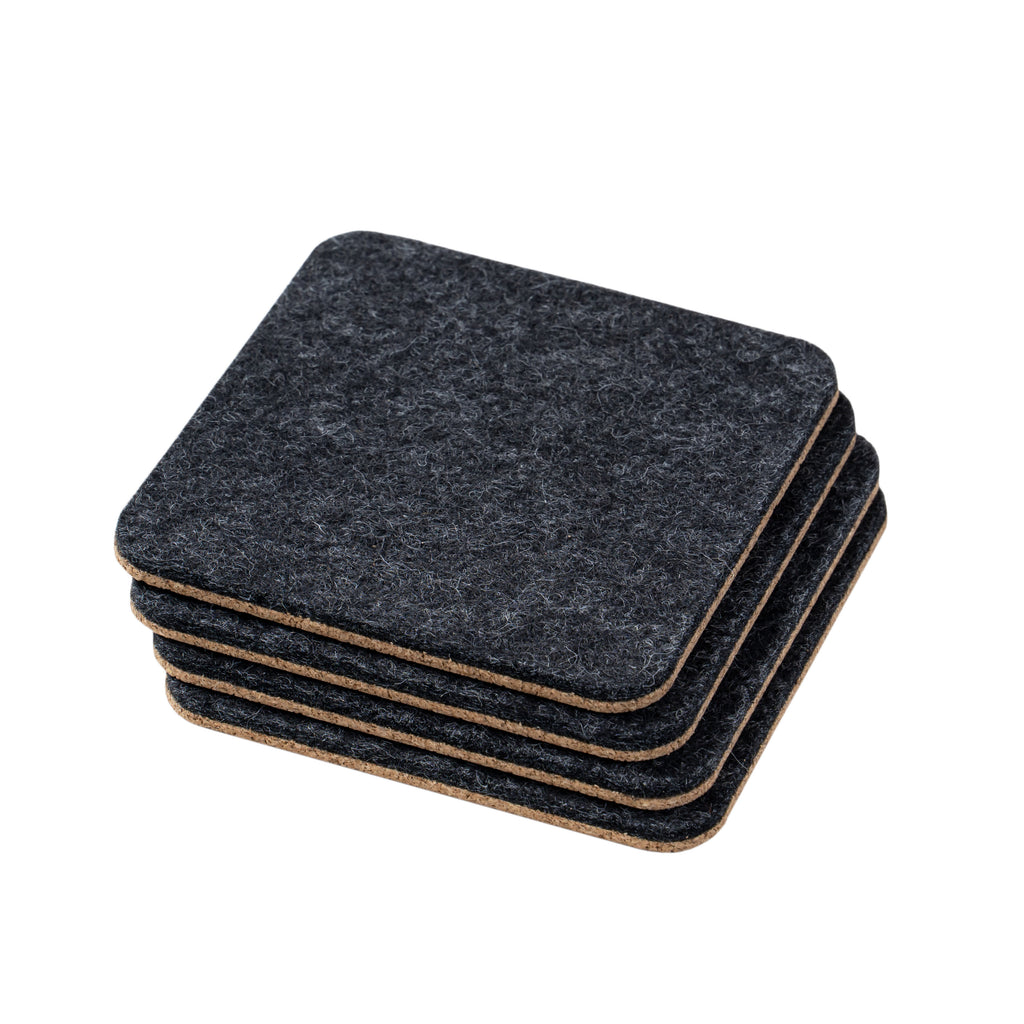 Felt & Cork Coasters- Set of 4- Anthracite