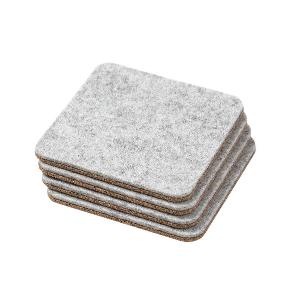 Felt & Cork Coasters- Set of 4- Grey