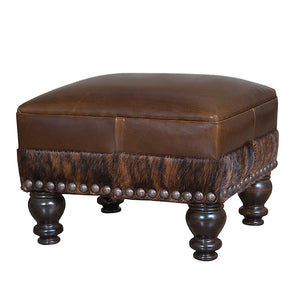 Fireside Ottoman - Allure Social Brown and Cowhide