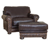 Hinsdale Over-sized Ottoman - Allure Dark Draft (Cosmopolitan Tooled Leather Accent)