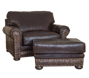 Hinsdale Over-sized Chair - Allure Dark Draft (Cosmopolitan Tooled Leather Accent)