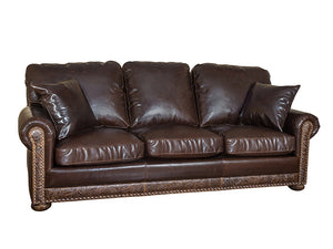 Frontier Sleeper Sofa - Allure Dark Draft (Cosmopolitan Tooled Leather Accent)