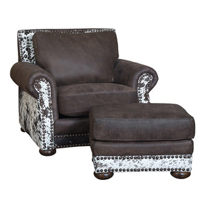 Hamilton Ottoman - Stallone Timber and Cowhide