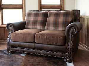 Hamilton Loveseat - Run Wyld Leather and Fabric Combo