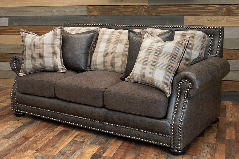 Hamilton Sofa - Grey Trend leather and fabric combo