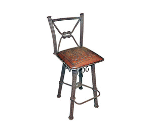 Western Iron Barstool with Back & Swivel