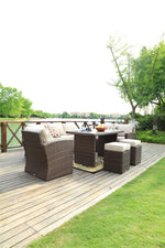 Mariely Outdoor Rattan Dining Sofa Set - 7 pcs (PREORDER)