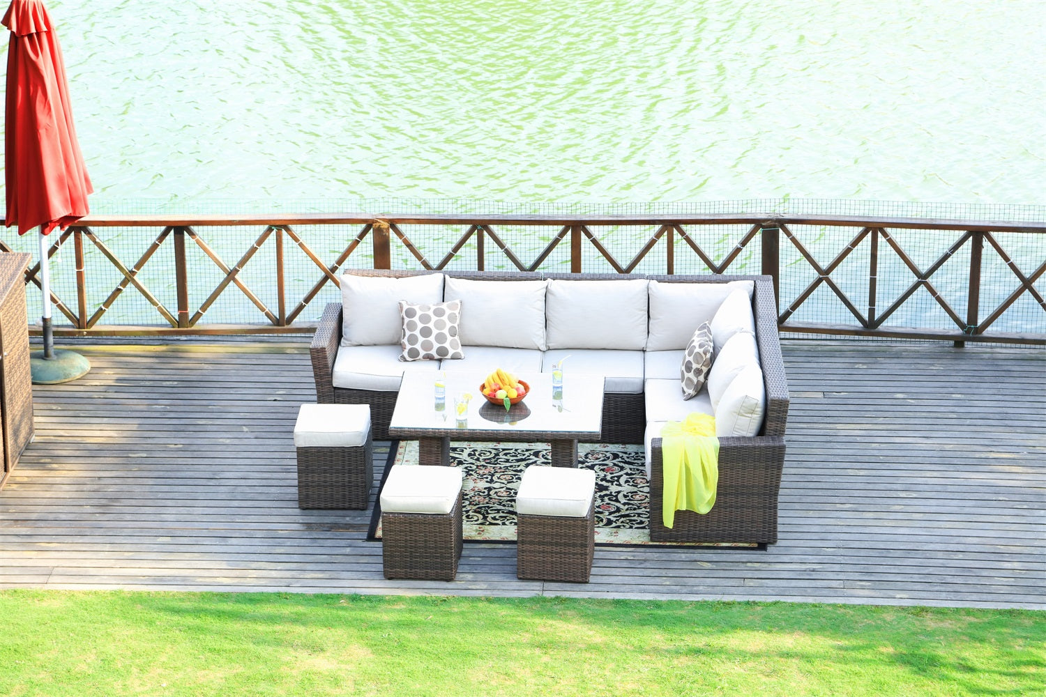 Isabella Outdoor Rattan Dining Sectional With Ottomans and Table - 8 pcs (PREORDER)