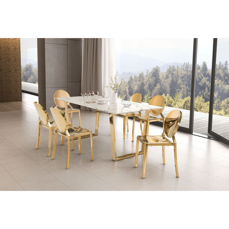 Atlas Dining Table Stone & Gold