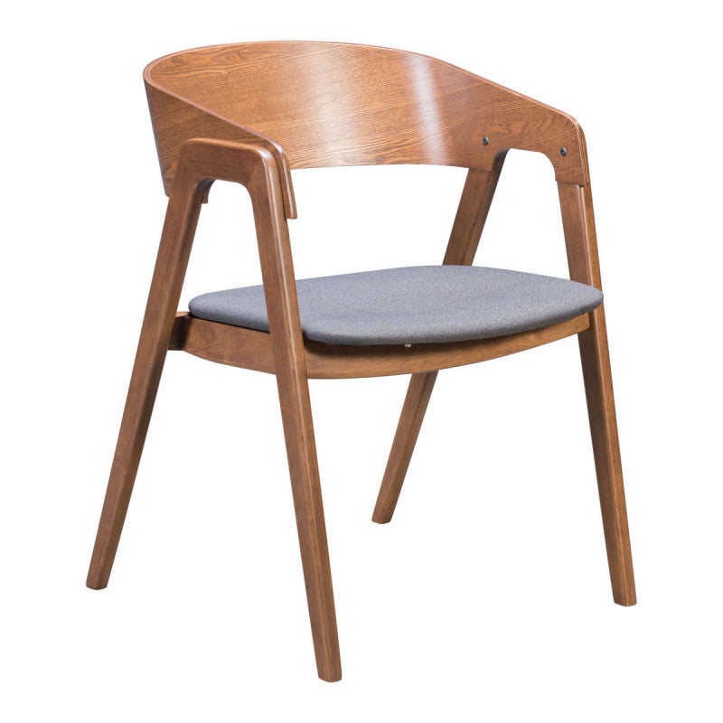Alden Dining Arm Chair Walnut & Dark Gray