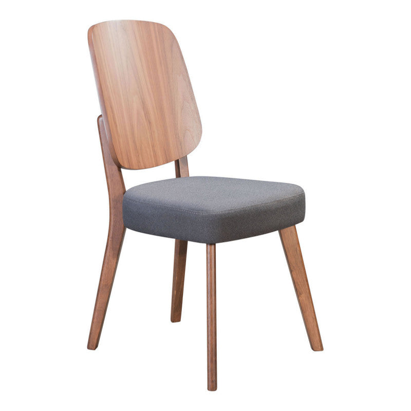 Alberta Dining Chair Walnut & Dark Gray