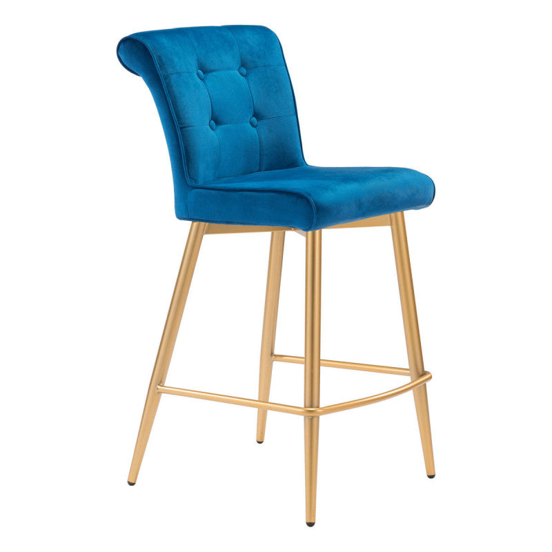 Niles Counter Chair Blue Velvet