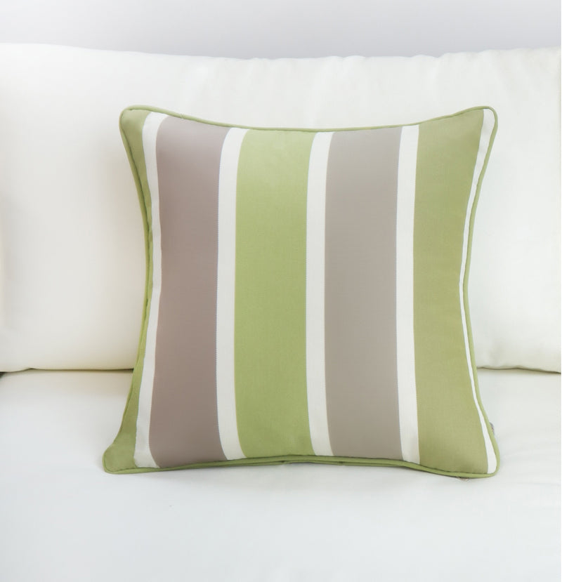 Outdoor Pillow in Lime Green/Grey - Set of 2
