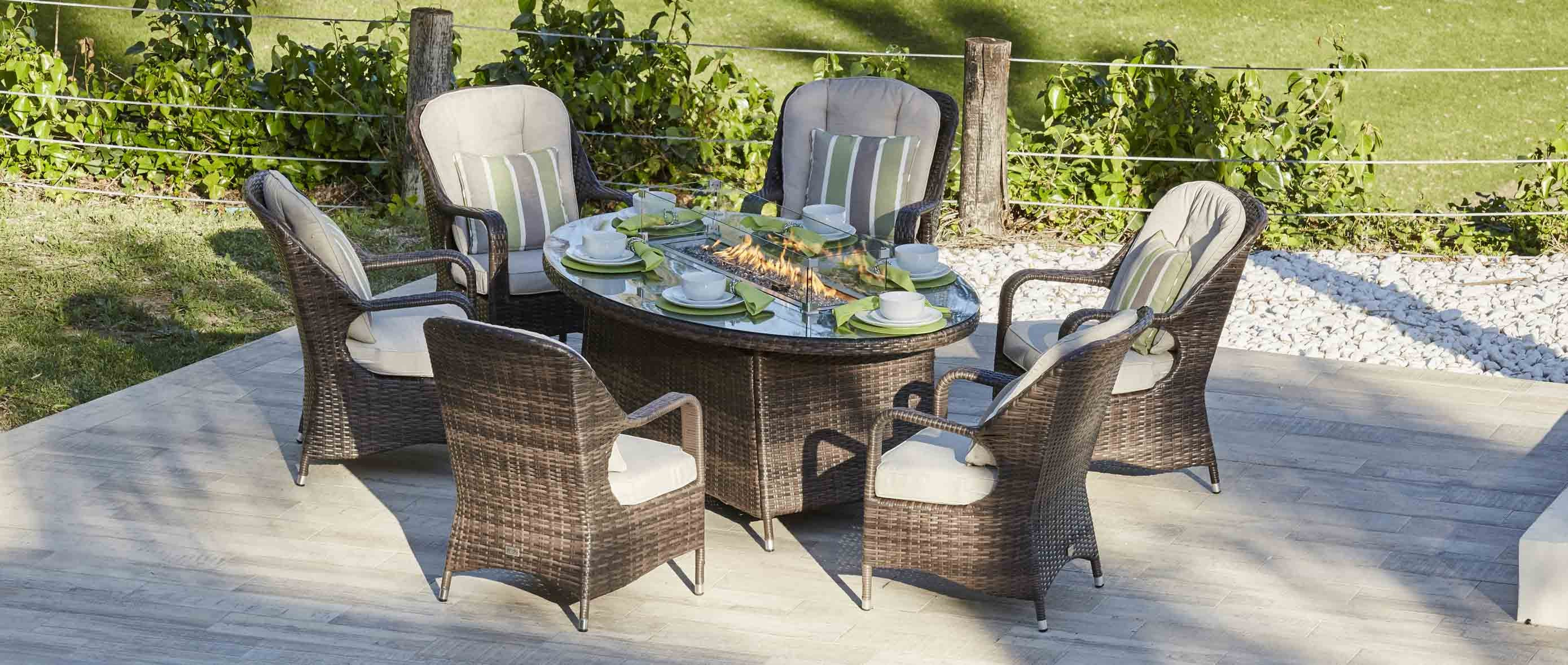 Sofia premium outdoor rattan dining set with gas fire pit 7 pcs preorder