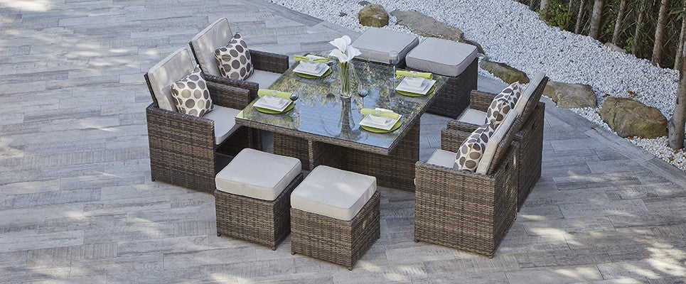 Lynette Rattan Outdoor Dining Set With 4 Chairs and 4 Stools - 9 pcs