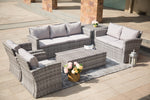 high detailed picture of Probasco set by Mr. backyard with handwoven rattan wicker in gray.