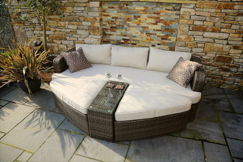 Bennington Outdoor Rattan Sun Bed Lounge - 4 Pcs (PREORDER)