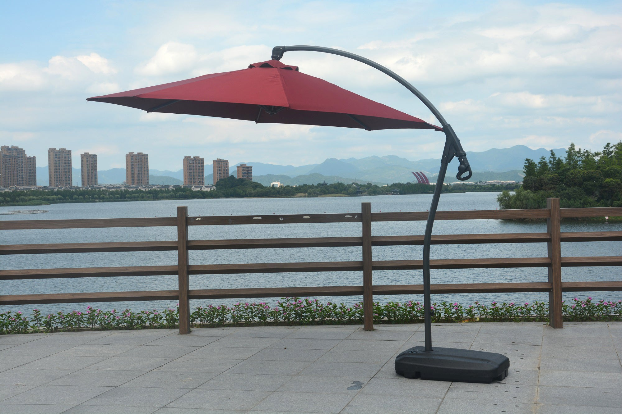 Mr. Backyard manufactured a one of kind cantilever umbrella that is durable and long lasting unlike other cheaper models online.