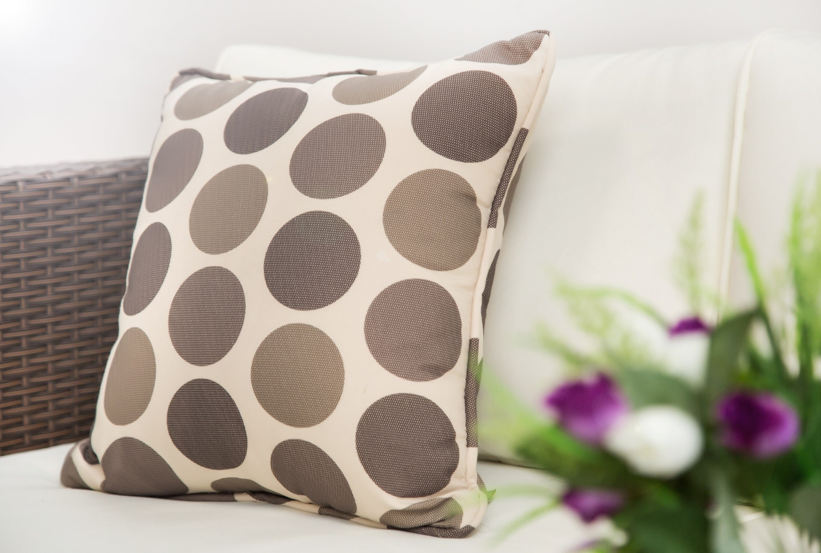 Outdoor Pillow in Brown Polka Dots - Set of 2