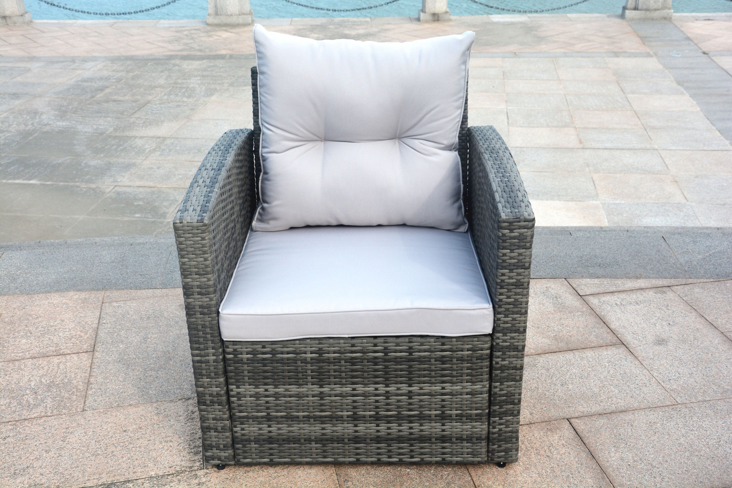 Edmond Outdoor Rattan Conversational Sofa Set - 6 pcs