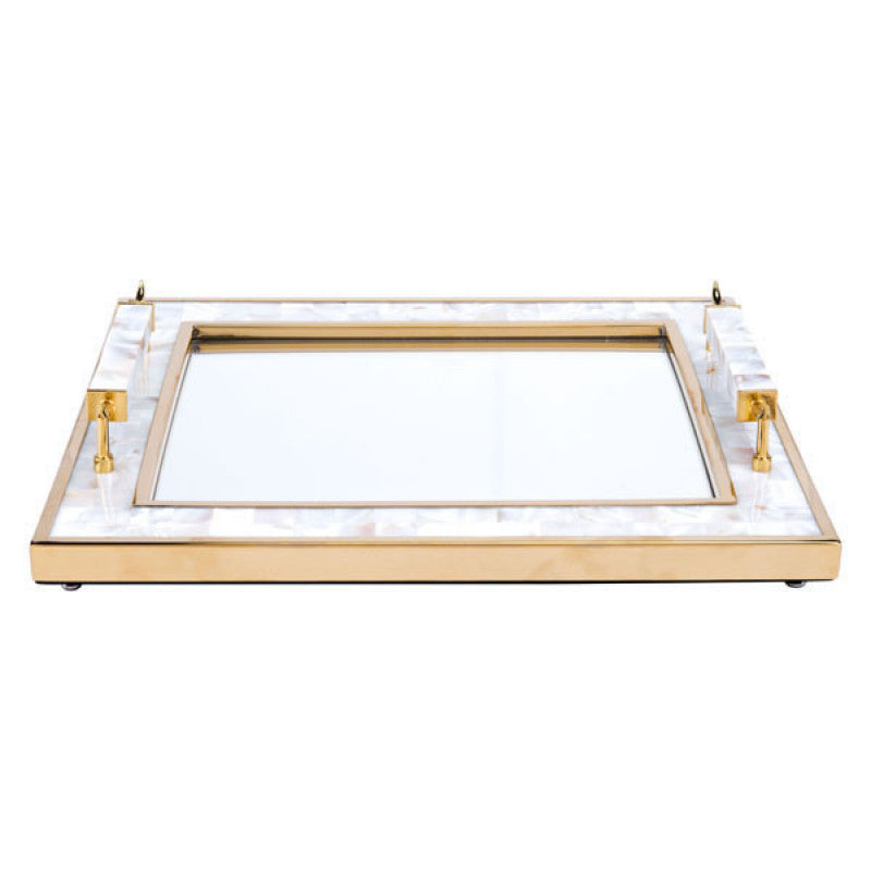 Tray With Horn Handle White