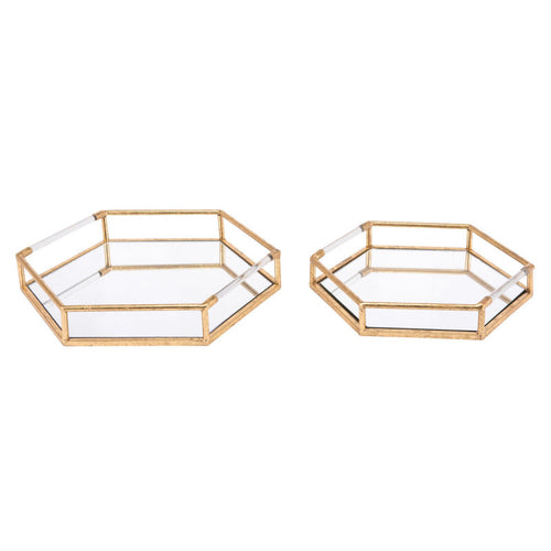 Set Of 2 Golden Trays Gold