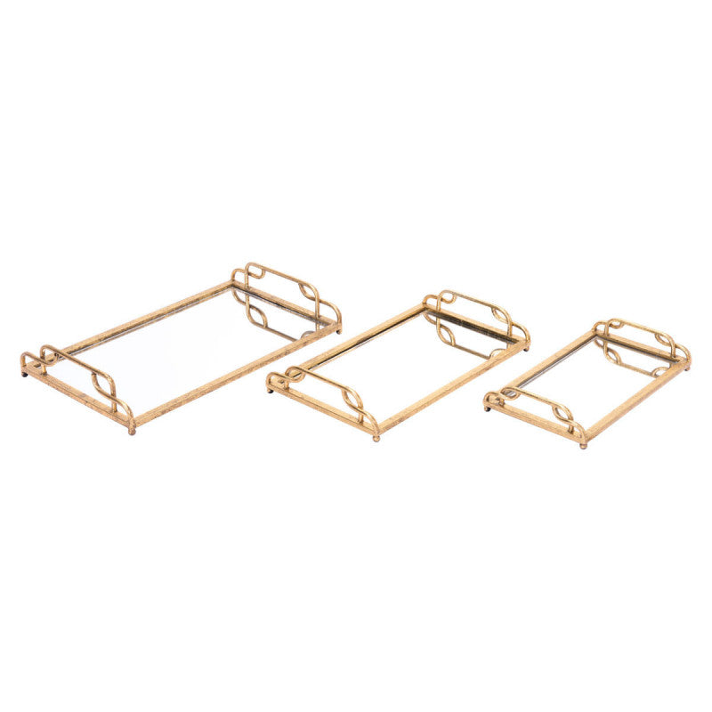 Set Of 3 Mirrored Trays Gold