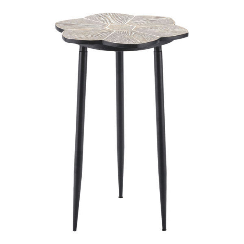 Daisy End Table Distressed Natural & Bla