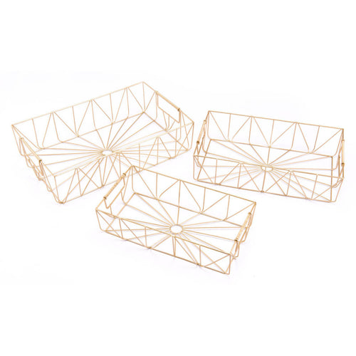 Set Of 3 Rectangular Trays Gold