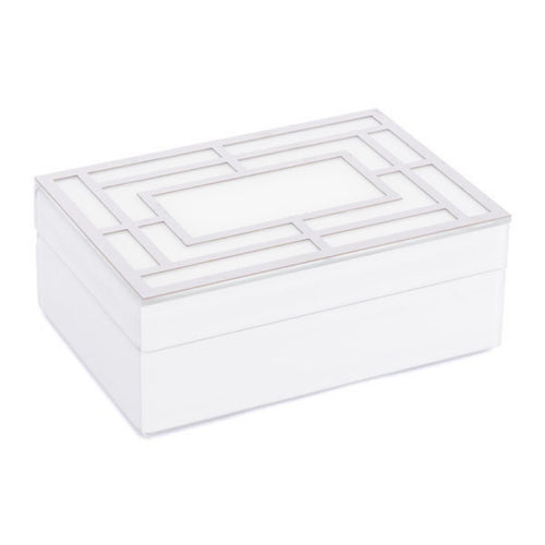 White Glass Square Box Lg White