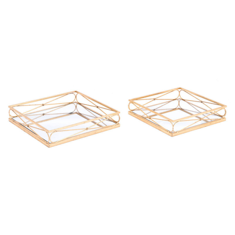 Twisted Set of 2 Trays Gold