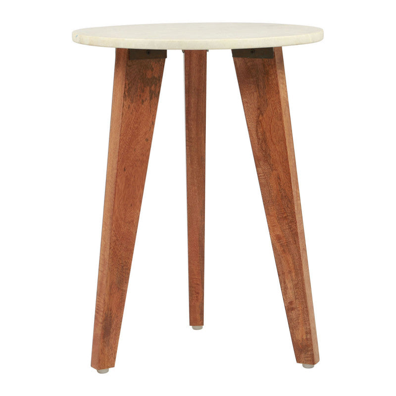 Axton End Table White Stone & Brown