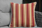 Outdoor Pillow in Red/Beige Stripes - Set of 2