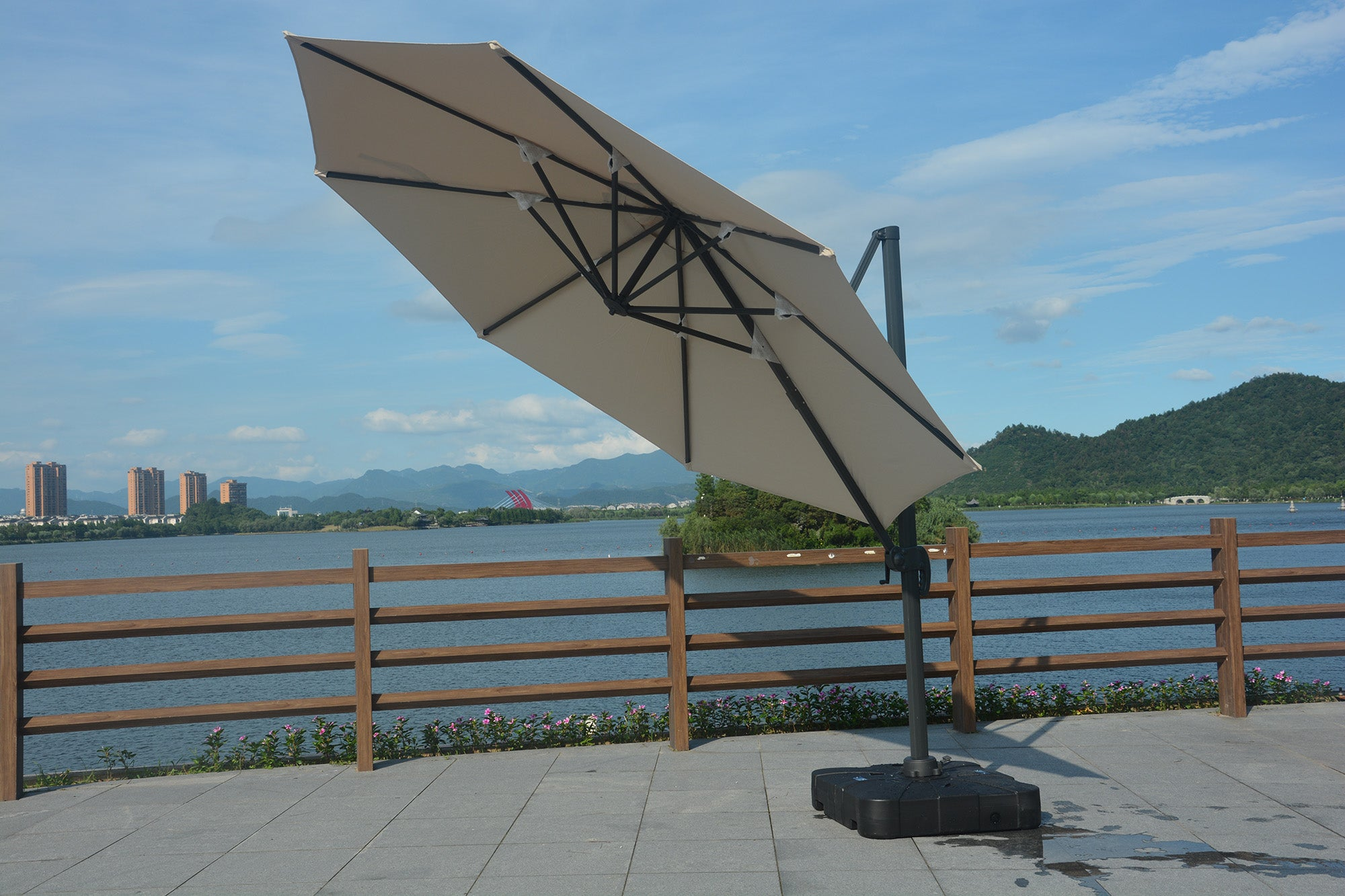 all weather umbrella  Available on www.mrbackyard.com for less than other retailers.
