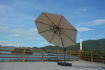 Adelle umbrella open and turned to showcase full product