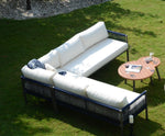 Claire Outdoor Aluminum Sectional With Tables - 6 Pcs