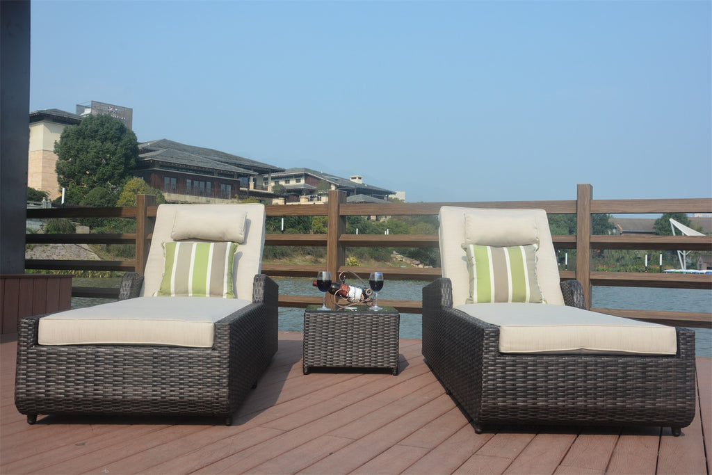 Maya Outdoor Rattan Chaise Lounges - 3 pcs (PREORDER)