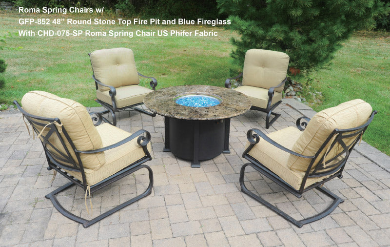 Round Stone Top Gas Fire Pit