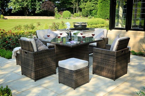 Lynette outdoor patio dining set by Mr. backyard includes nine pieces
