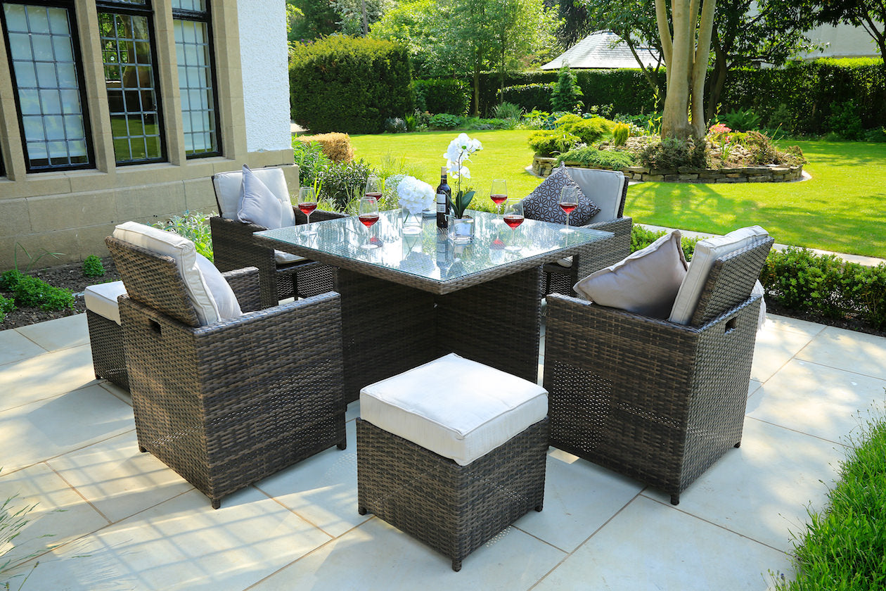 Lynette Rattan Outdoor Dining Set With 4 Chairs And 4 Stools 9 Pcs