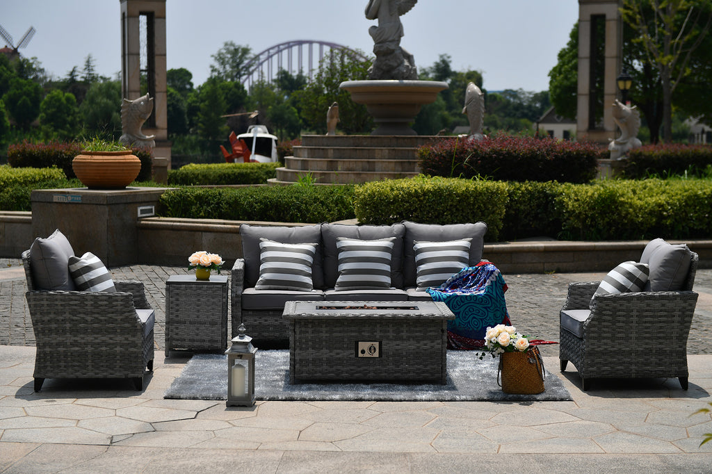 Ash Outdoor Rattan Conversational Sofa Set With A Gas Fire Pit Coffee Table - 5 Pcs (PREORDER)
