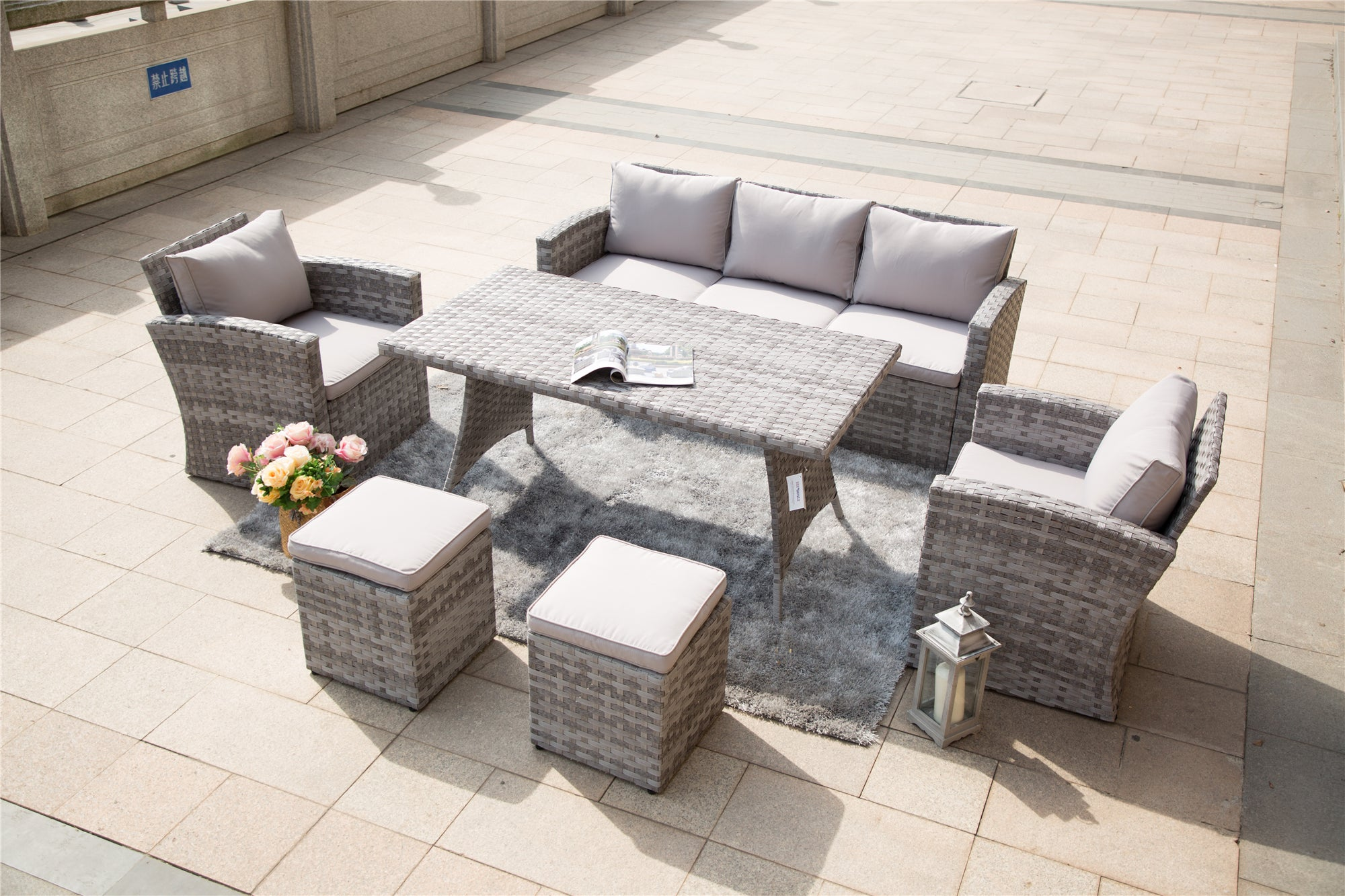 Danbury Outdoor Rattan Sofa Set With Ottomans and Dining Table - 7 Pcs (PREORDER)