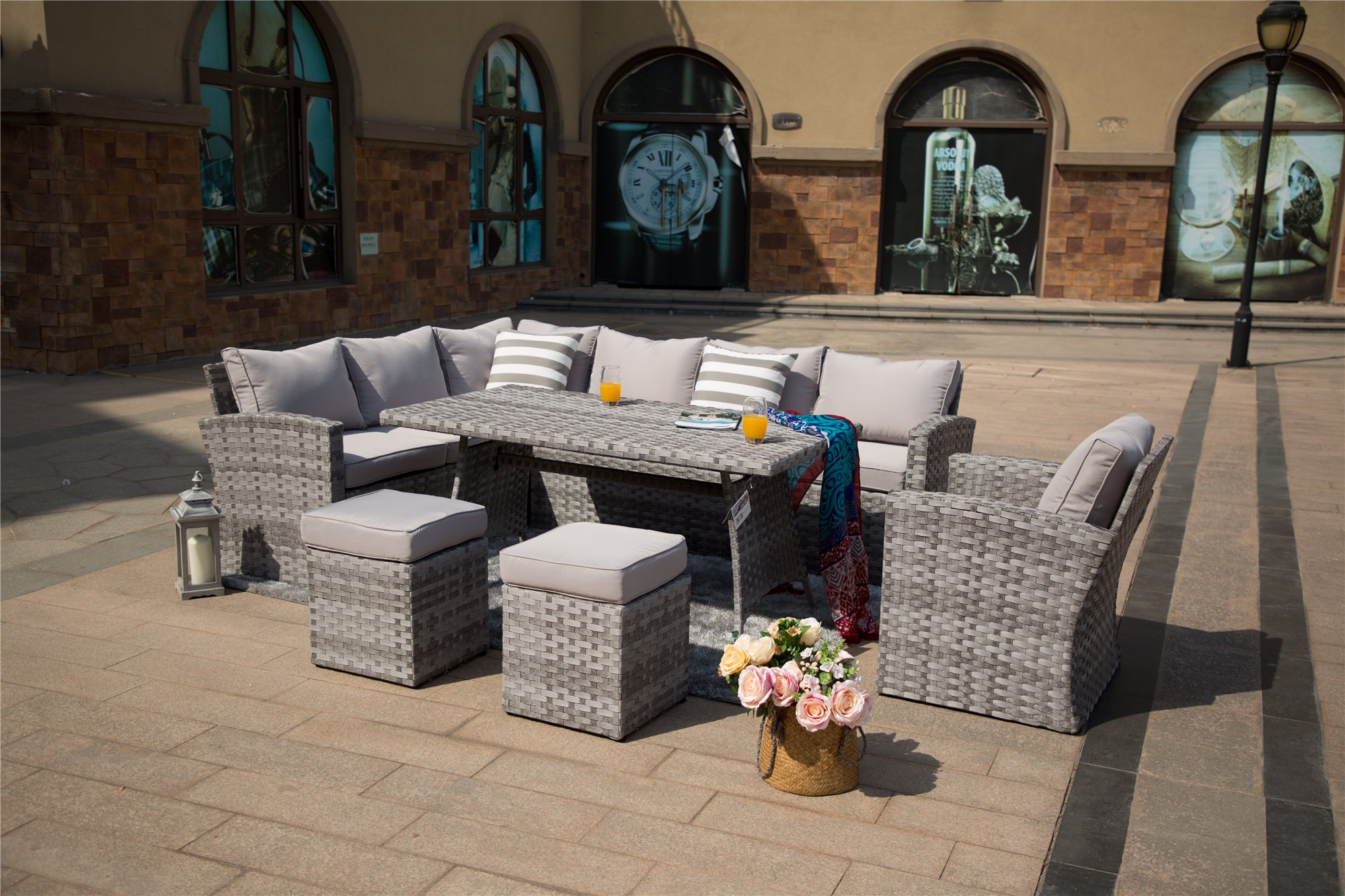 Danbury Outdoor Rattan Sectional With Ottomans and Dining Table - 6 Pcs (PREORDER)