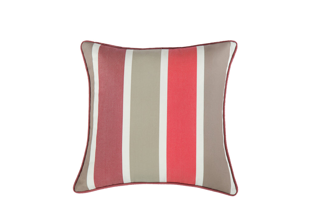 Mr. backyard specially made outdoor set of two pillows in fushia and gray. Our pillows are made with premium quality polyester quickdrying fabric that is made for all weathers.
